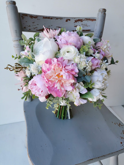 Pink Peony Faux Floral Bouquet
