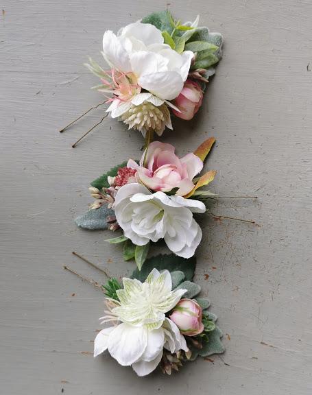 faux floral hair pins